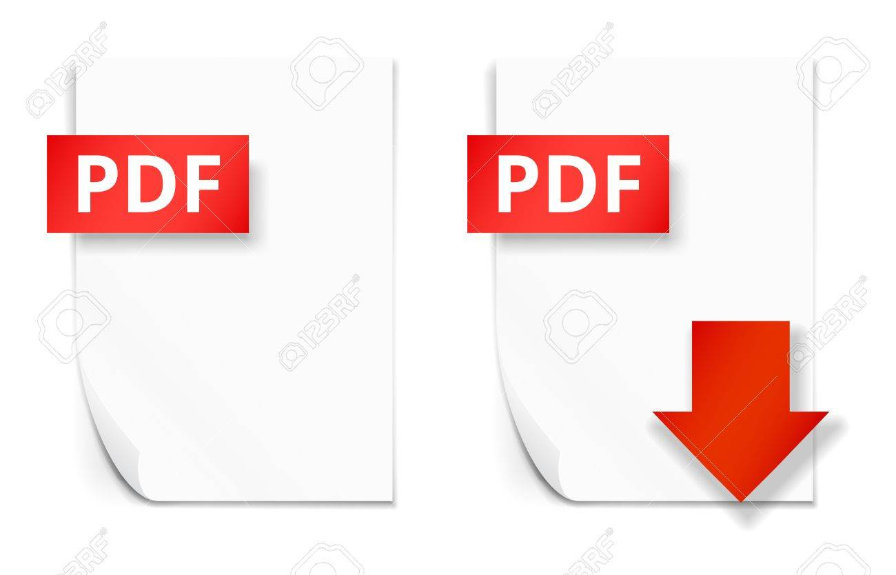 pdf icons of empty paper sheet and download button royalty free