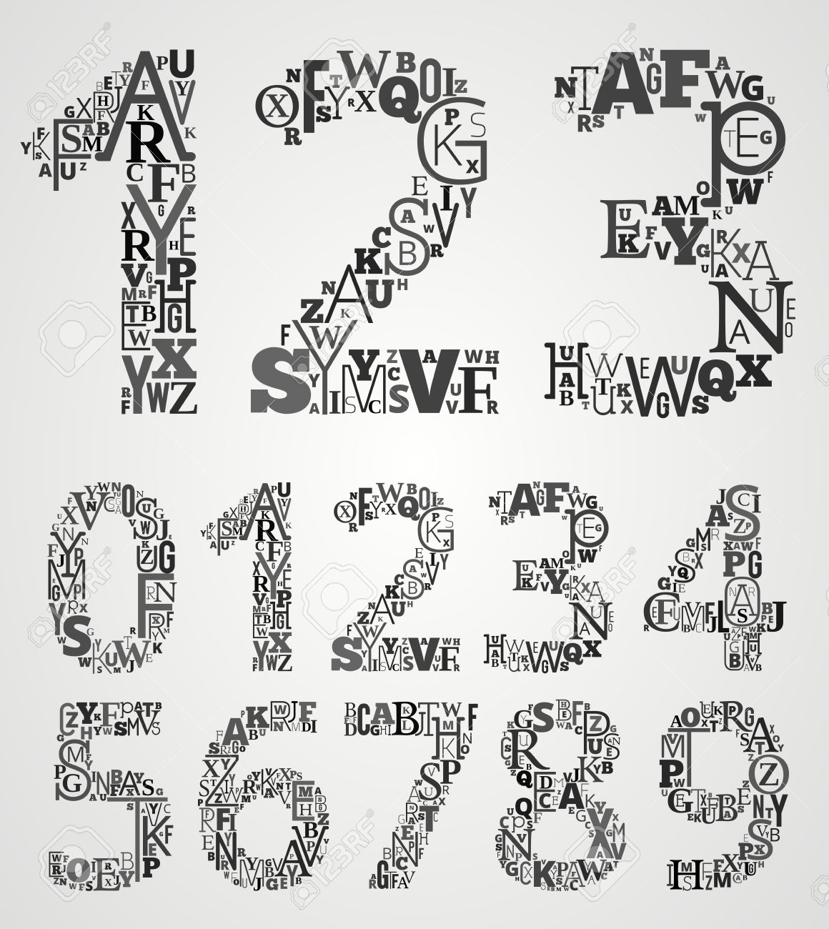 lettering alphabet set numbers from different fonts letters stock vector 27158514