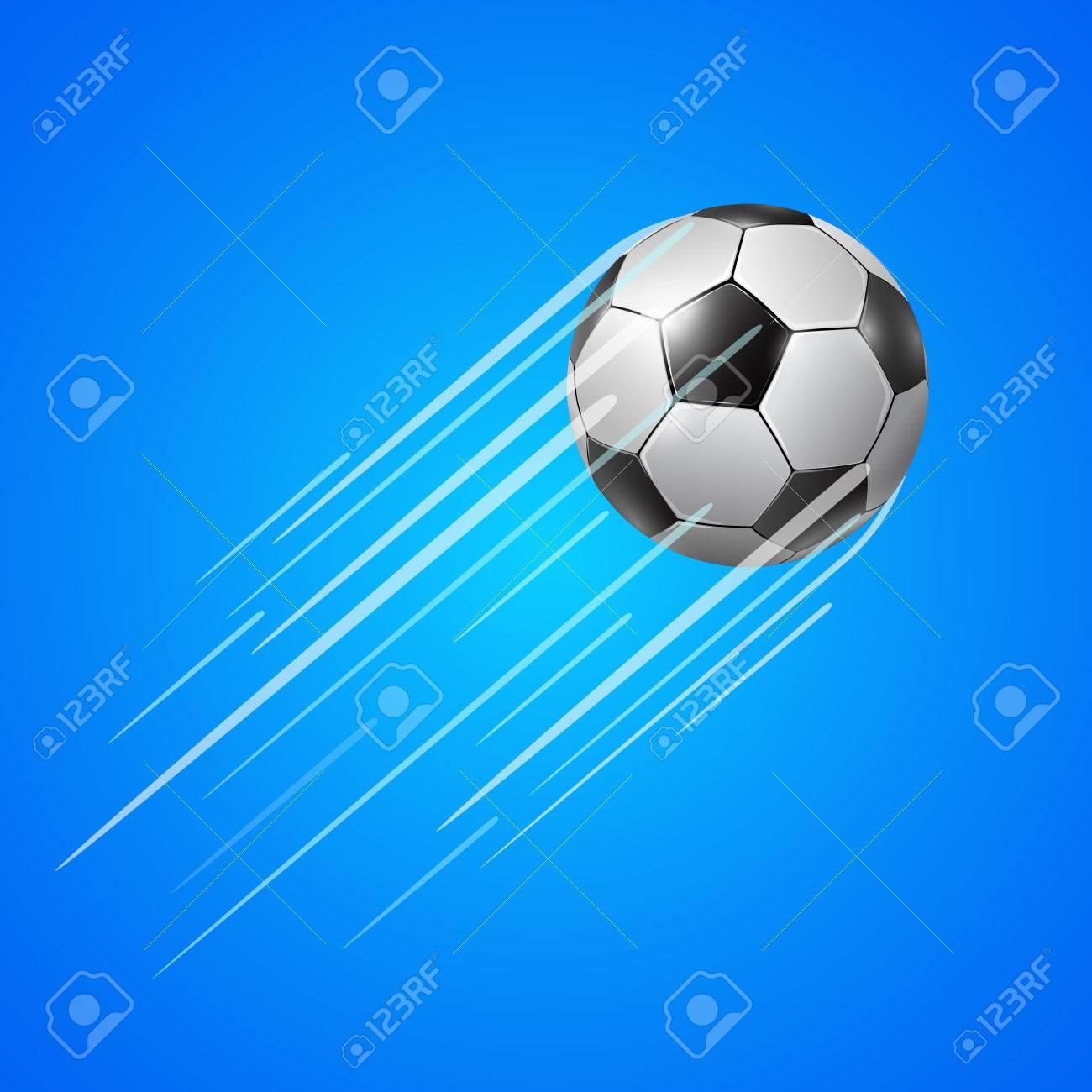 Vettoriale Pallone Da Calcio Realistico Con Una Scia Di Velocità