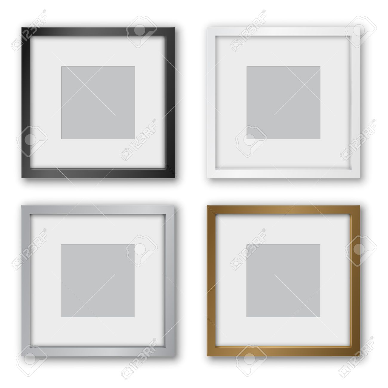 picture frame square format black silver and gold frames design with thin borders