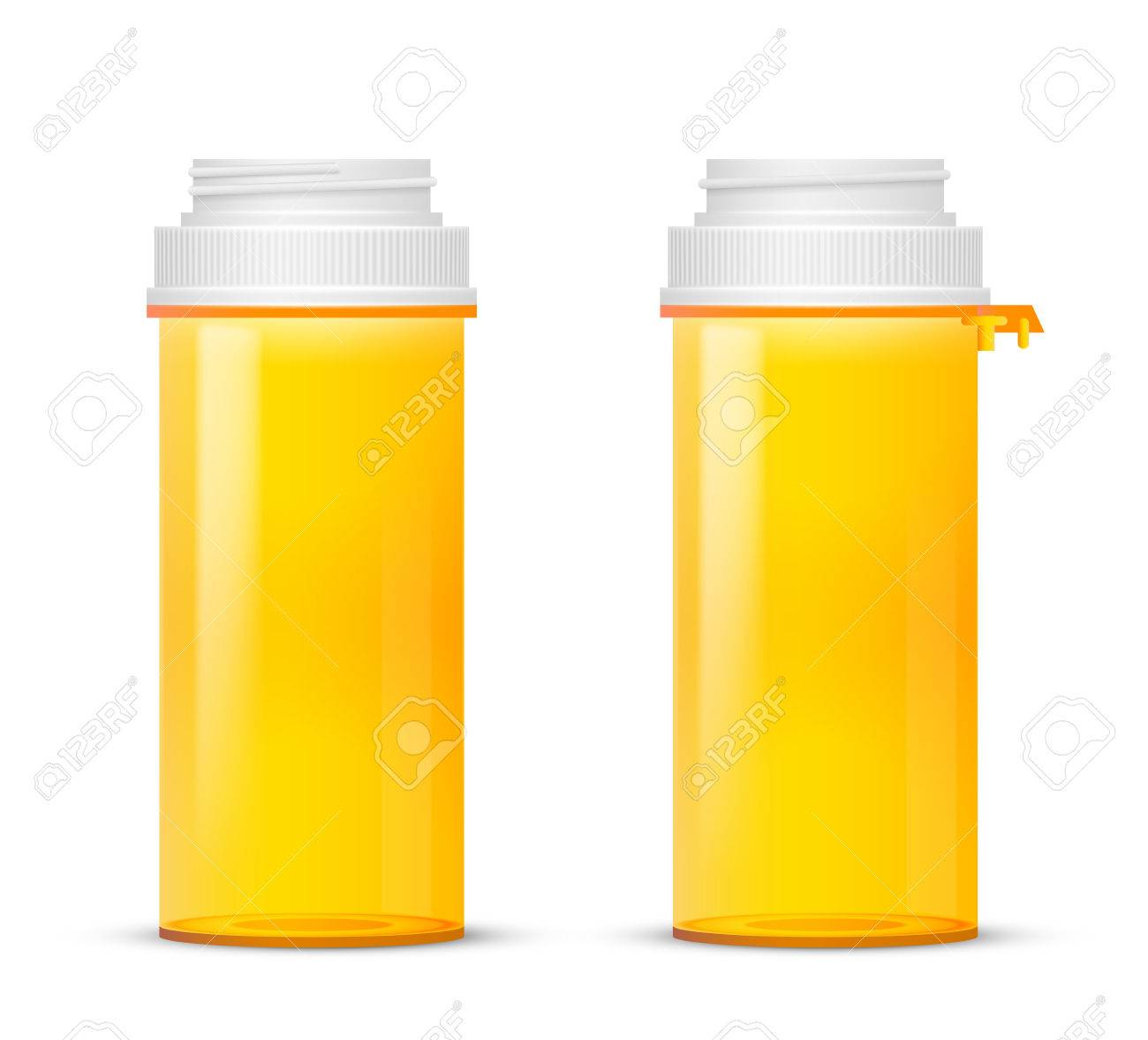 Bottle Of Of Prescription Pill With Labels Template Vector