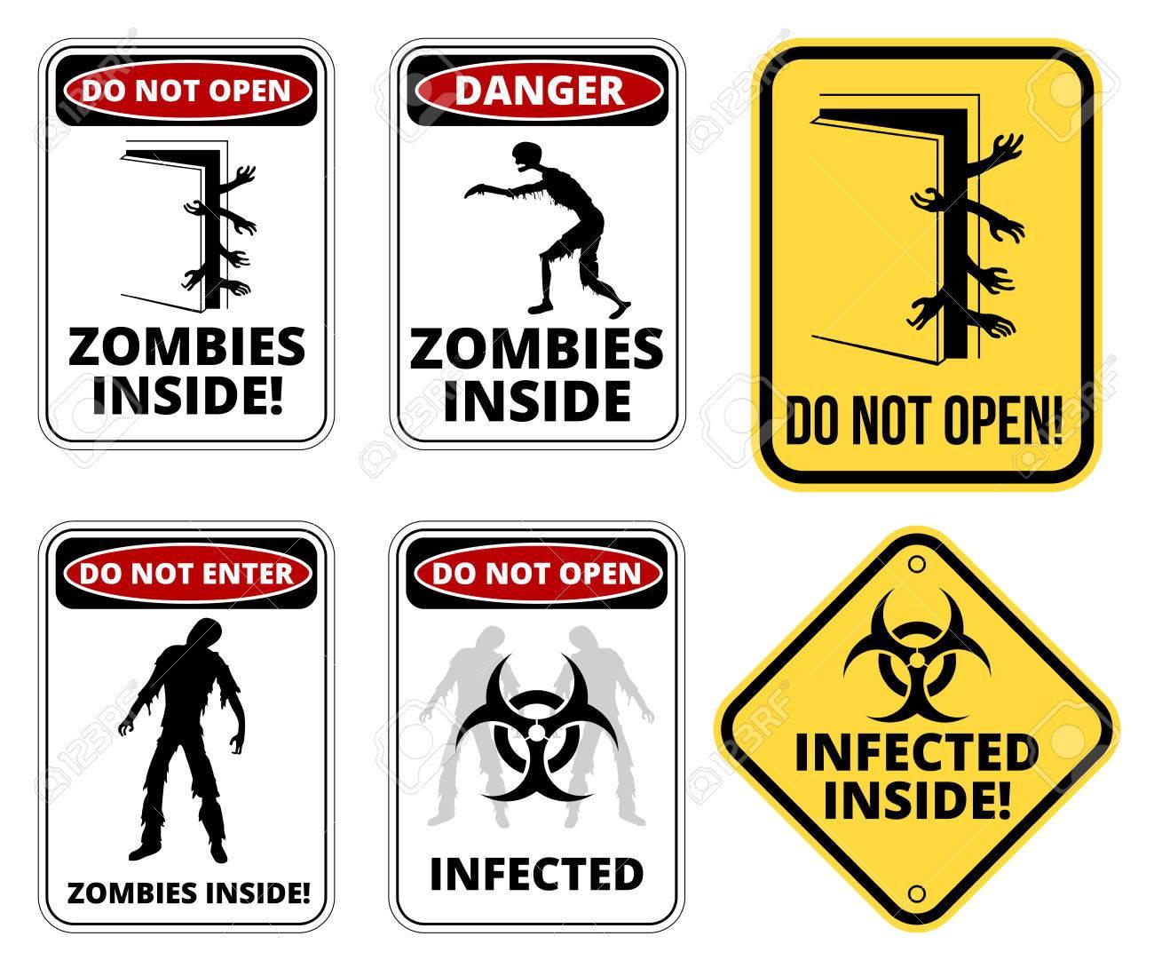 Set Of Sign Zombie Outbrake Inside Building Biohazard Quarantine