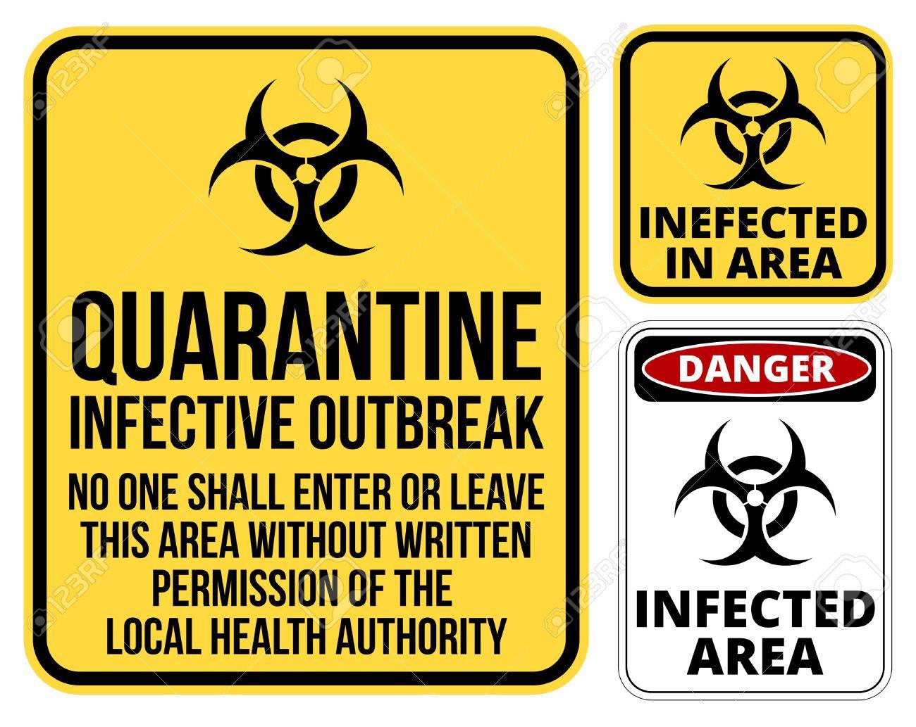 Set Of Sign Biohazard Quarantine Area Vector Illustration Royalty