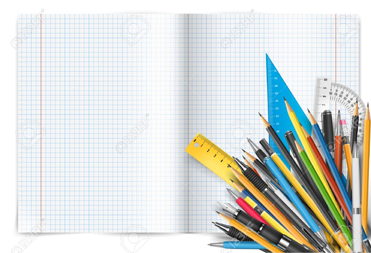 Vector back to school theme. Exercise book with math spread and twisted page, pens and pencils. - 43890730