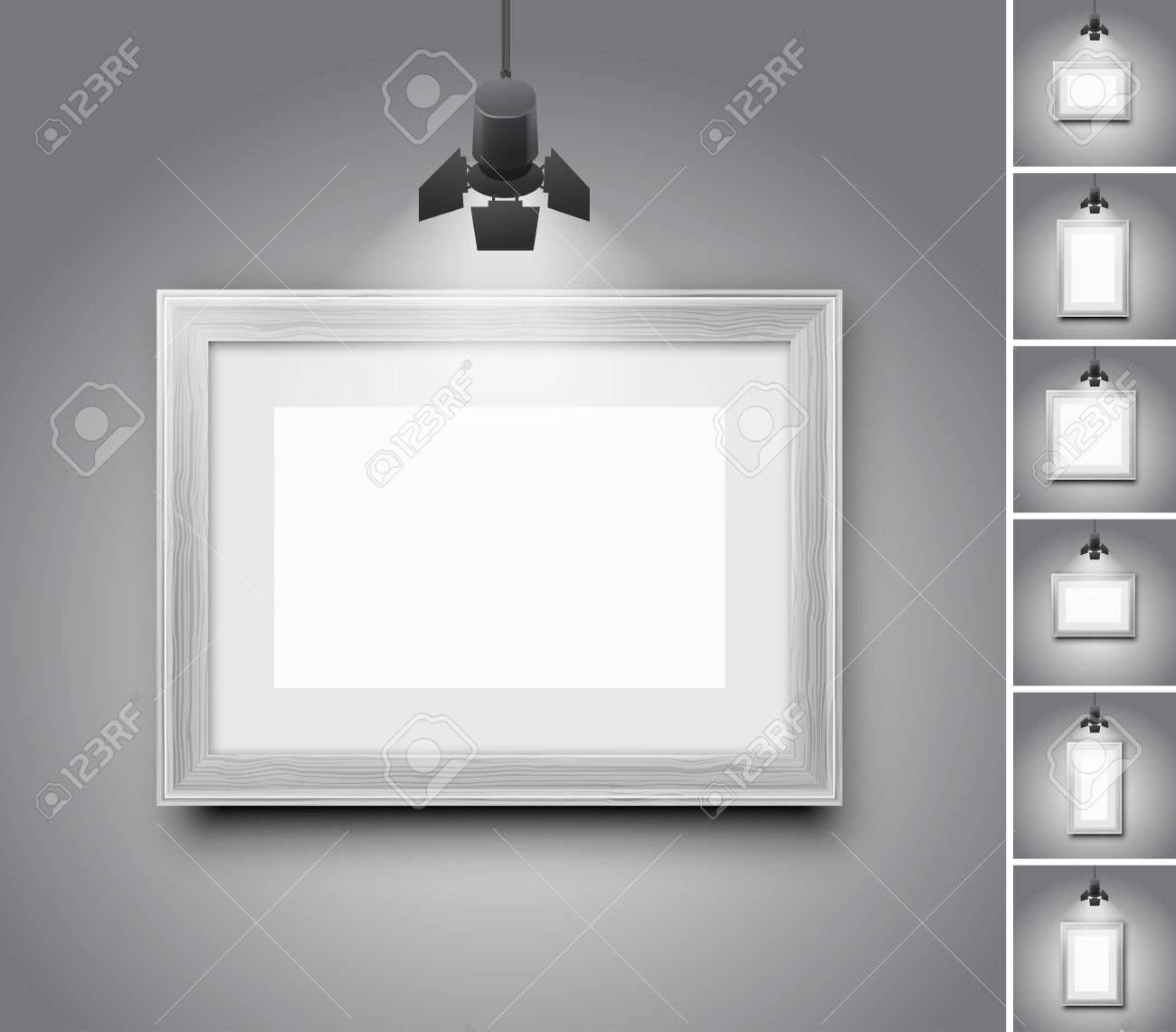 Wood frames set free vector - Blank Studio Wall And White Wooden Picture Frame Under Light Lamp Set Of Realistic Vector