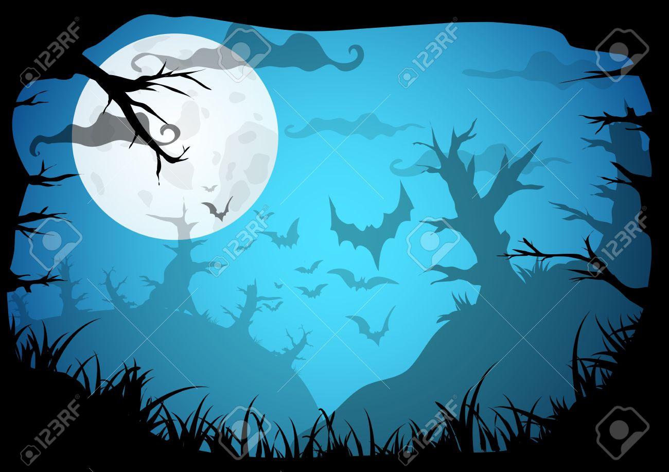 Halloween Blau Gespenstisch A4 Frame-Rahmen Mit Mond, Der Tod Bäume ...