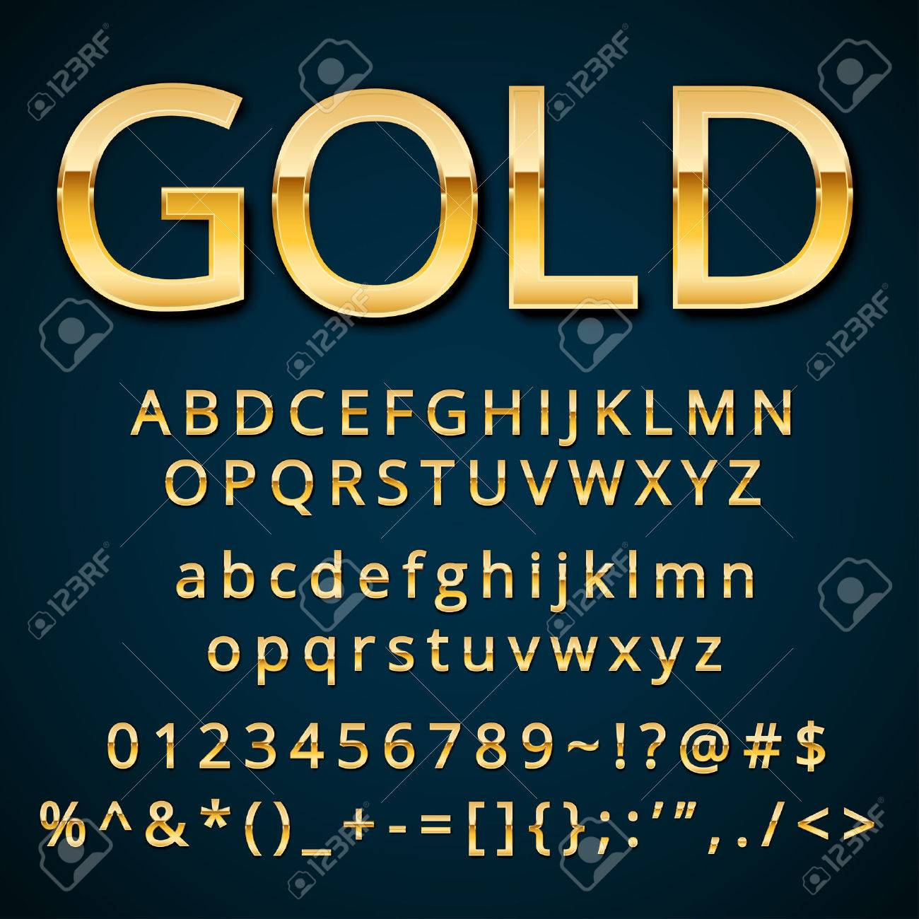 Gold Letter Alphabetic Fonts With Numbers And Symbols Royalty Free