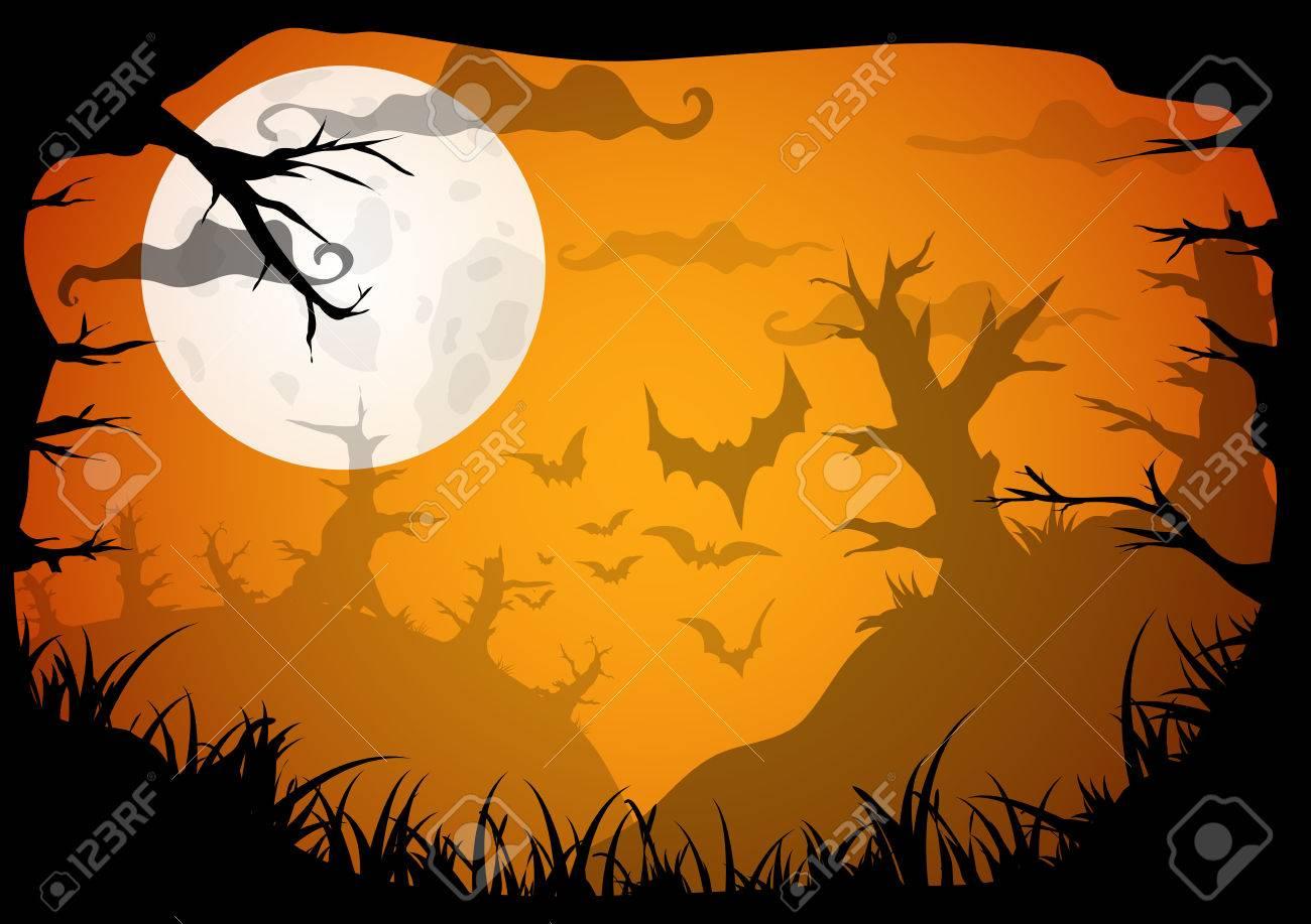 Halloween Gelb Gespenstisch A4 Frame-Rahmen Mit Mond, Der Tod Bäume ...