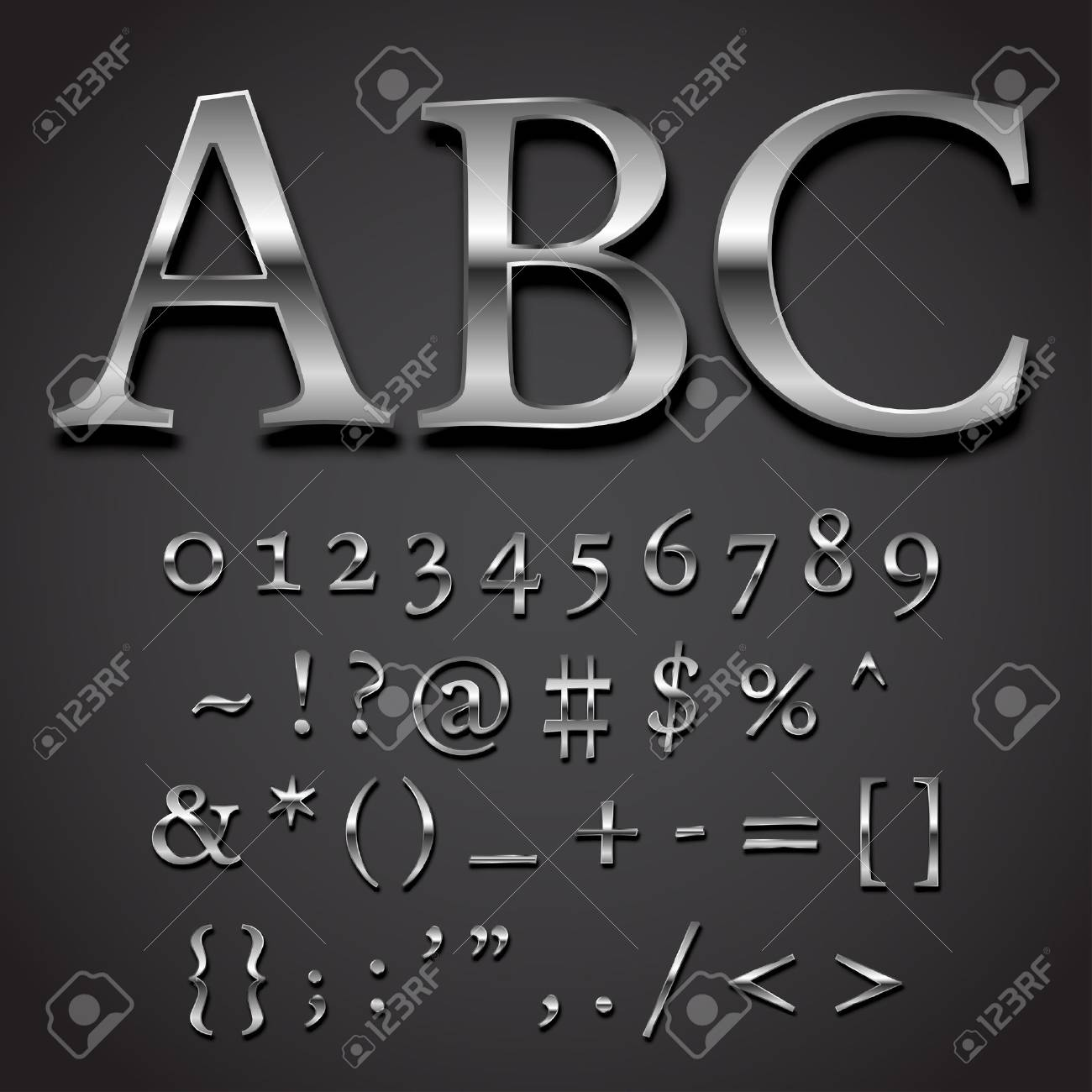Silver Font Vector Set Numbers And Special Symbols Character