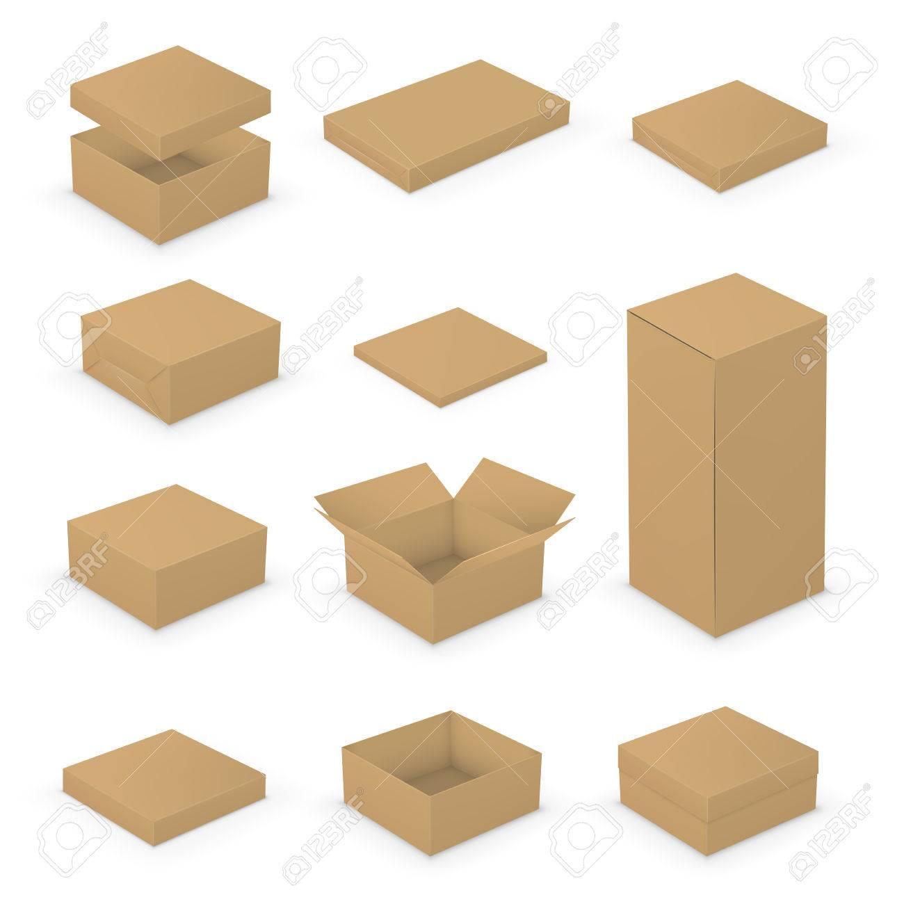 Kurz Kleine Offene Und Geschlossene Boxen Vorlagen-Sammlung. Brown ...