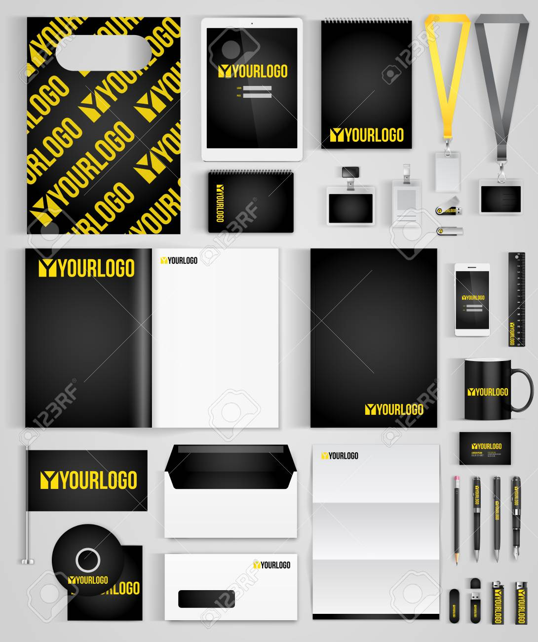 black and gold design template of corporate identity with big