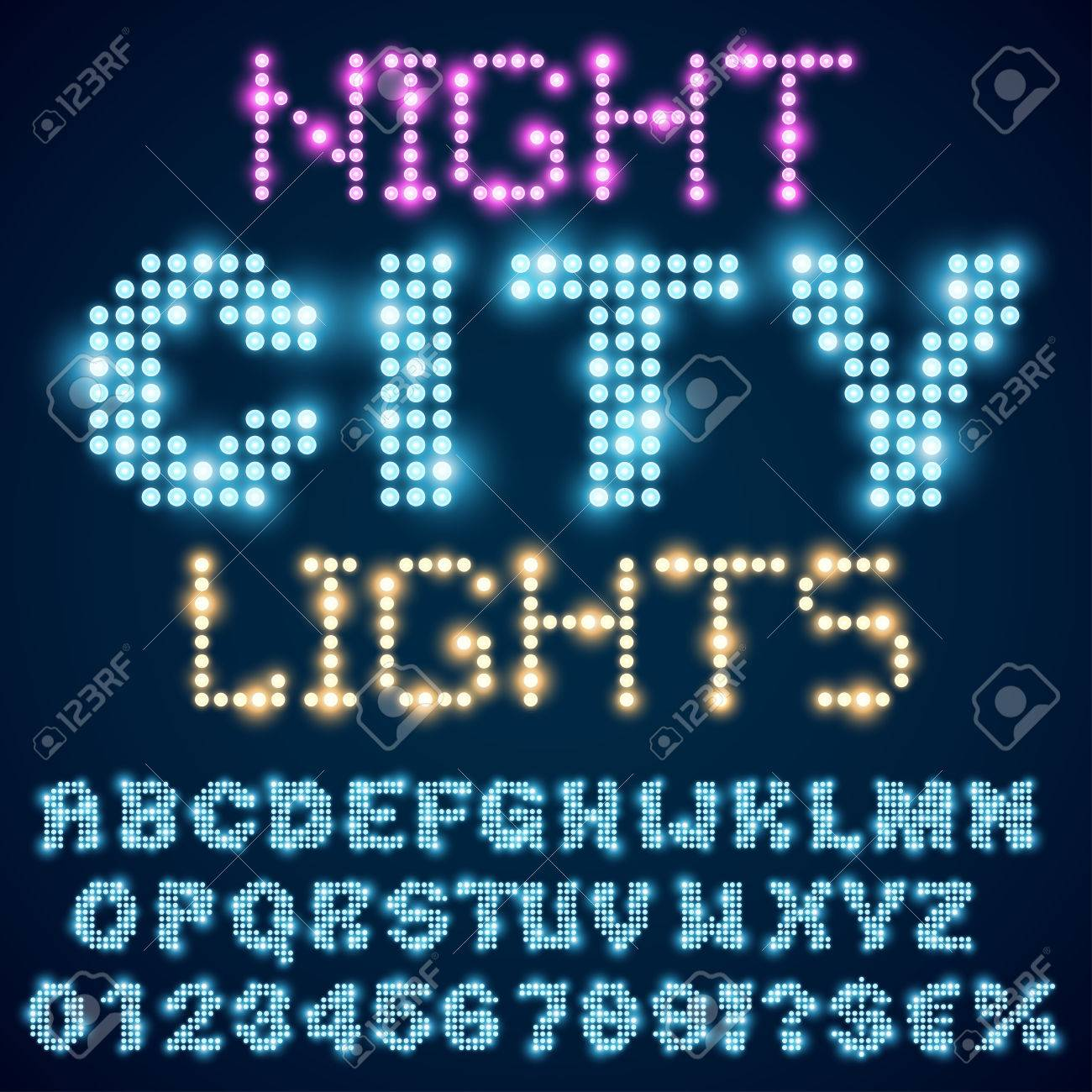 Night city lights lamp neon sign style bold blue font  Vector