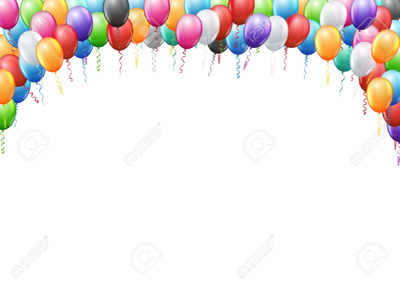 Colored balloons frame A4 proportions page template for birthday or party invitation. Vector background - 50339734