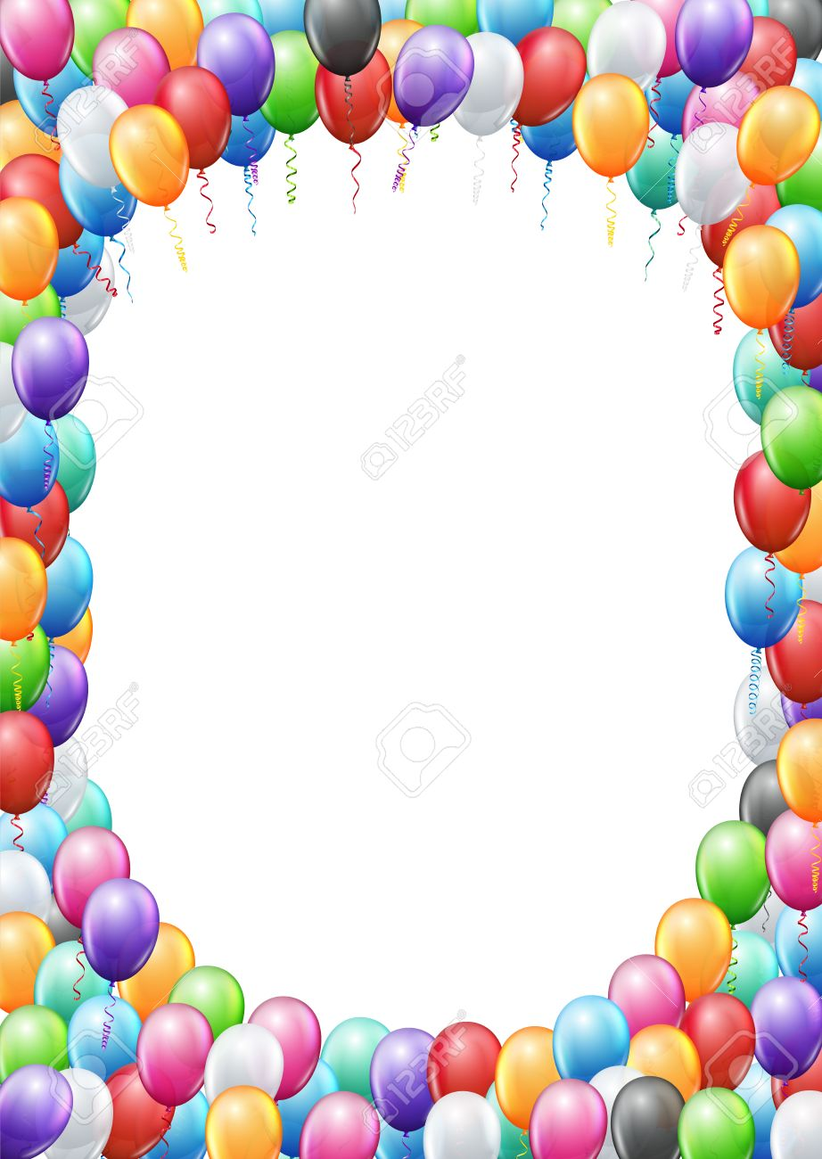 Colored balloons frame a4 proportions page template for birthday colored balloons frame a4 proportions page template for birthday or party invitation vector background stock stopboris Images