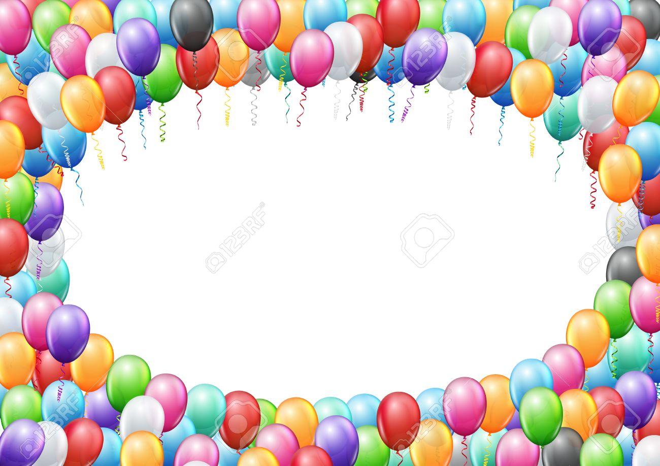 Célèbre Ballons Colorés Encadrent A4 Page Proportions Modèle Pour L  GD19