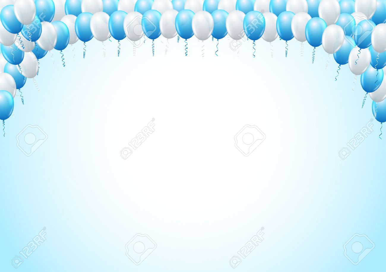 Blue Colored Balloons Top Framed Page Template For Birthday – Birthday Party Invitation Backgrounds