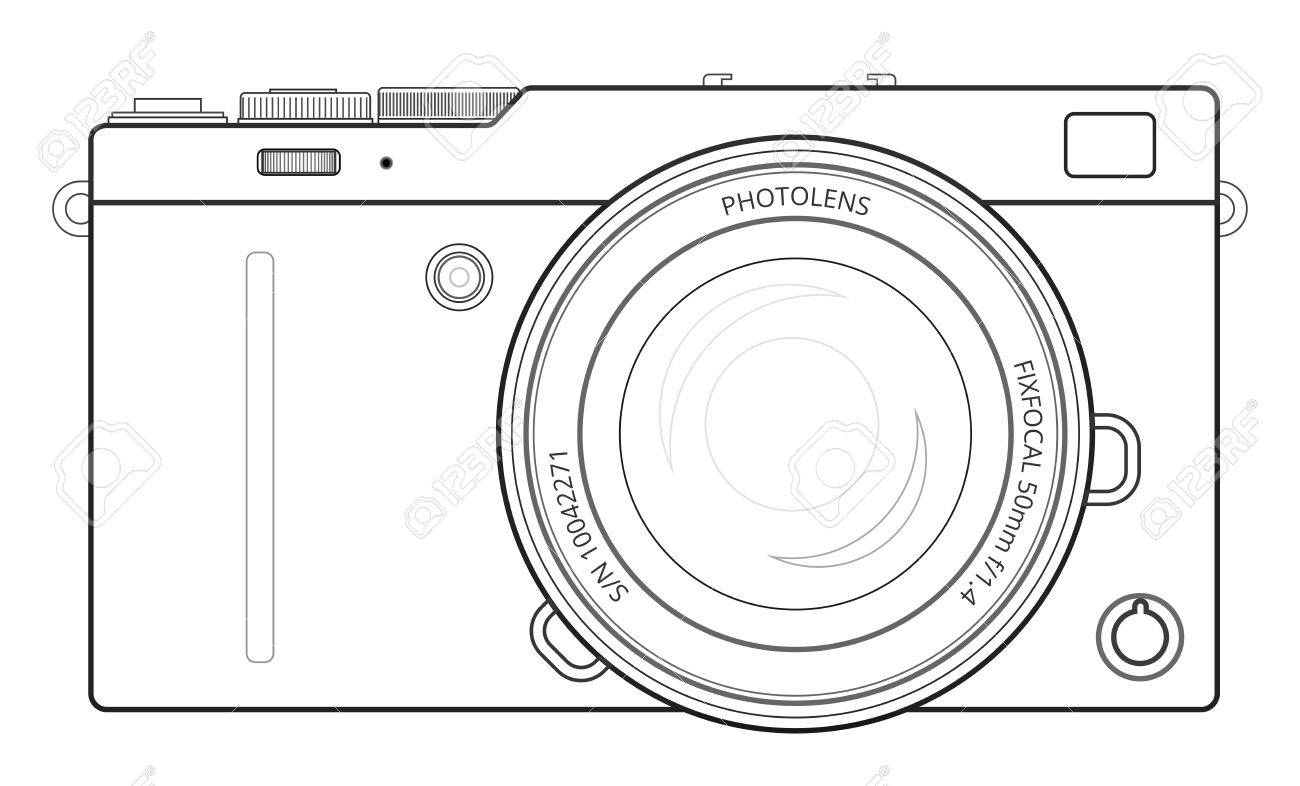 Mirrorless interchangeable lens digital photo camera line blueprint mirrorless interchangeable lens digital photo camera line blueprint view outline vector illustration stock vector malvernweather Choice Image
