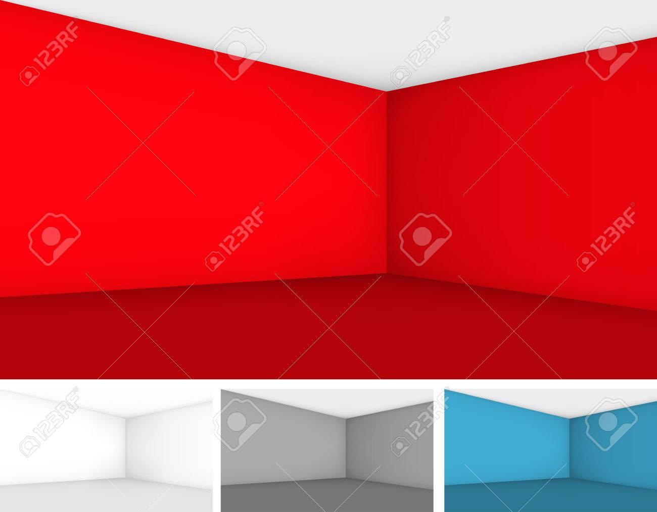 Ensemble de chambre vide modèles de différentes couleurs - rouge, gris et  blanc, des murs avec perspective. Vecteur de fond