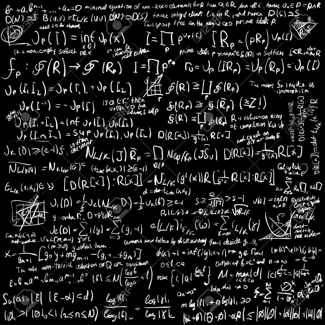 maths algebra formulas on chalkboard vector background royalty free