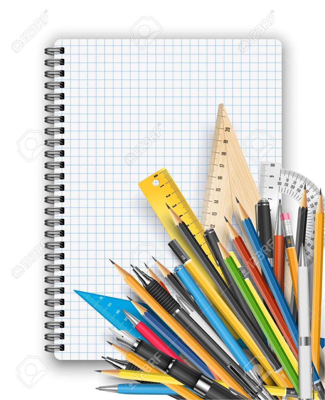 back to school theme notebook rulers pens and pencils royalty free