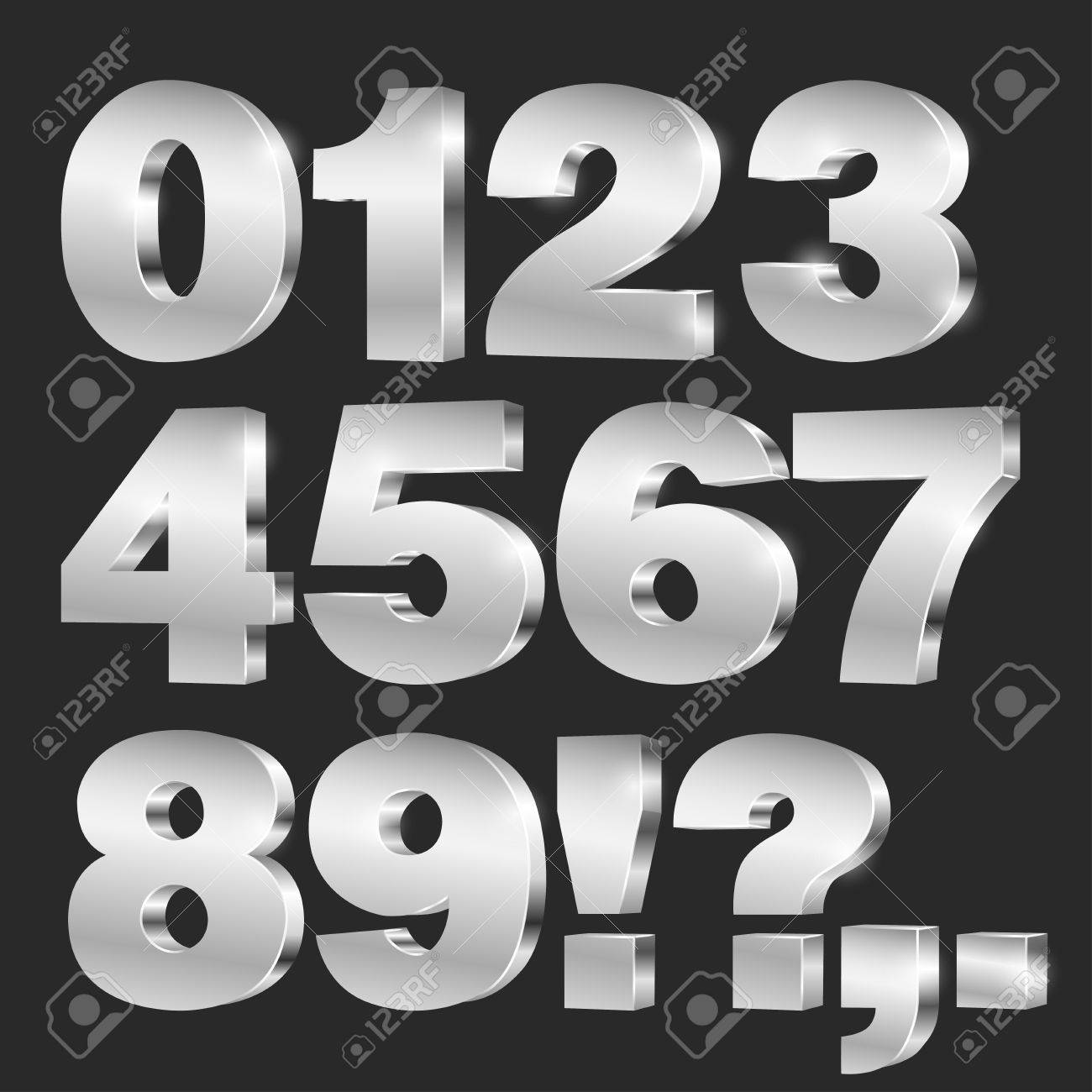 3D vector numbers, set from to 9, metallic chrome on black background - 61580193