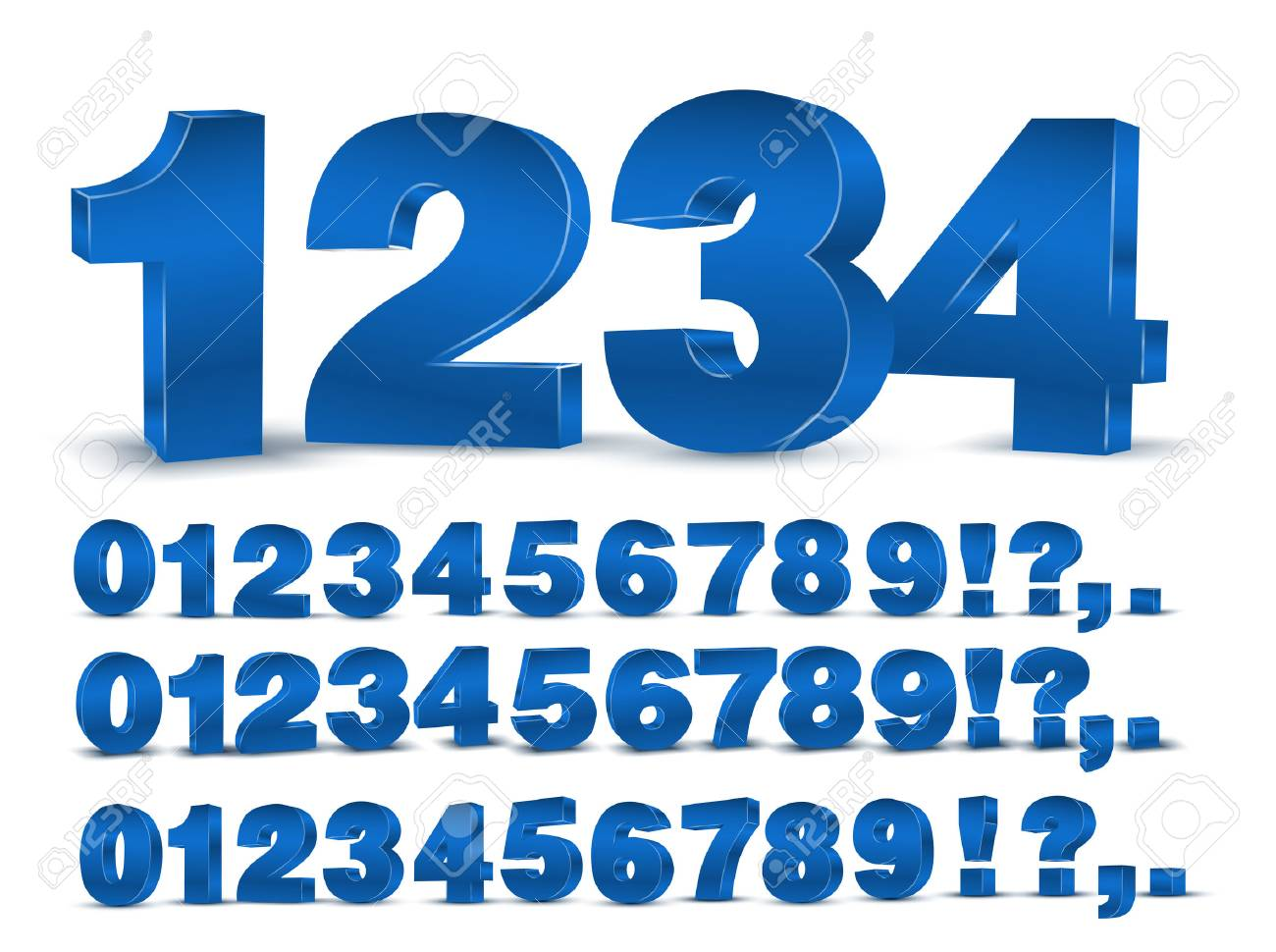 Four set of blue colored 3d vector numbers, from to 9 - 61713566