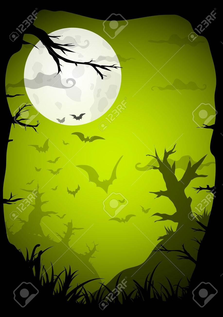 Halloween Grün Gespenstisch A4 Rahmen Grenze Mit Mond, Tod Bäume Und ...