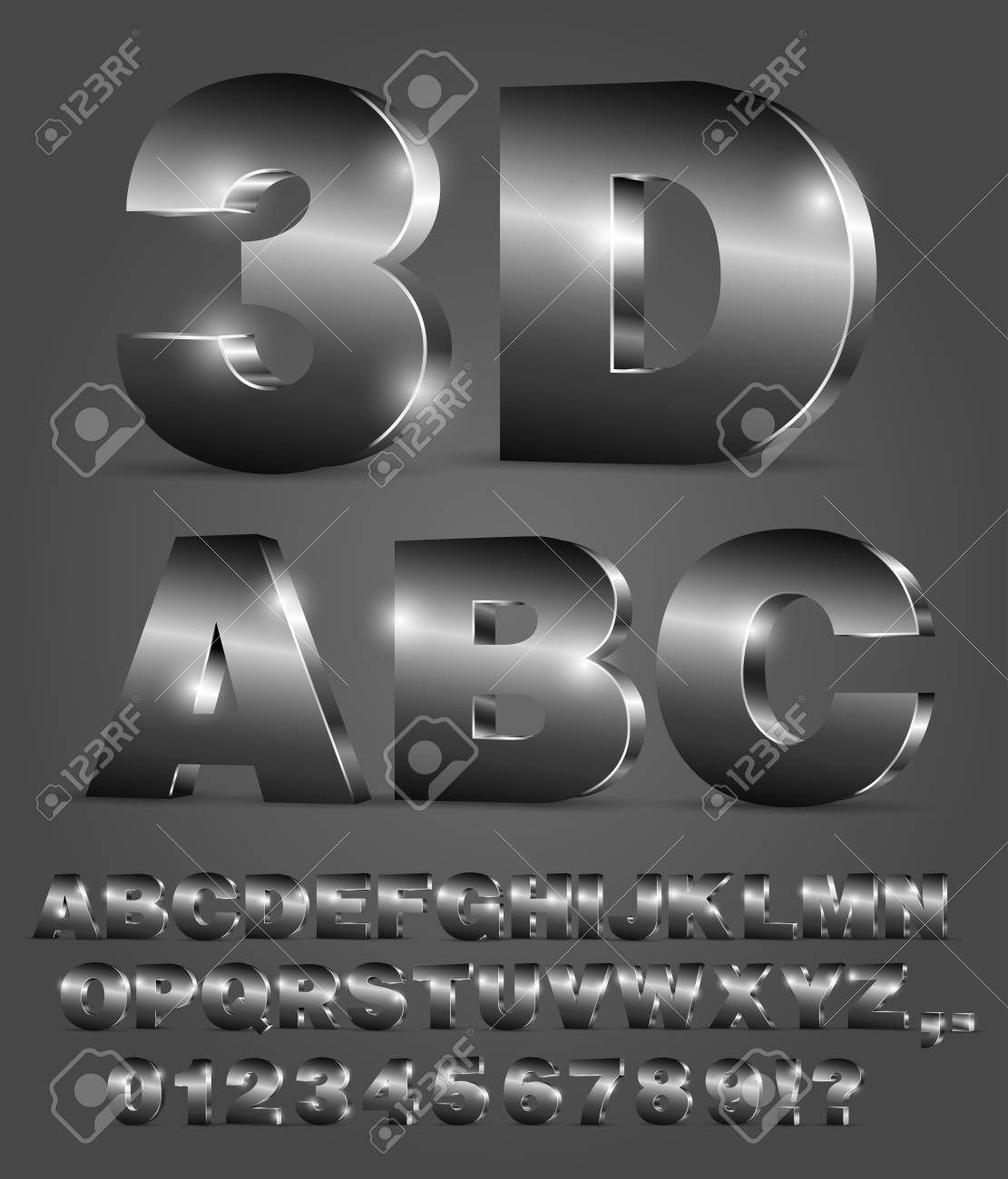 3D alphabet vector black font with alphabet letters and numbers Stock Vector - 64518478