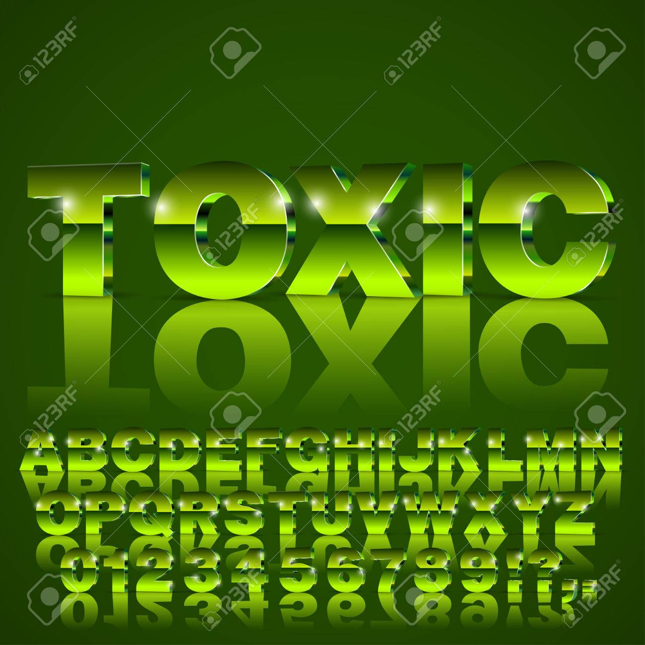 3D Isometric Alphabet Vector Toxic Green Colored Font With Alphabet ...