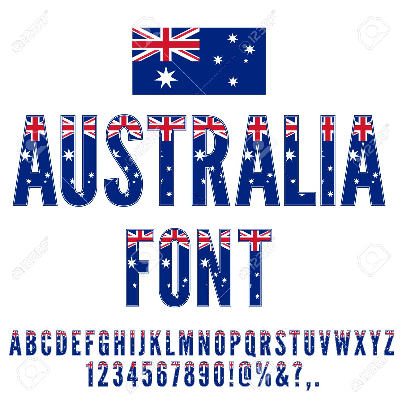 Australia National Flag Stylized Flat Font Alphabet And Numbers In Vector Set Stock