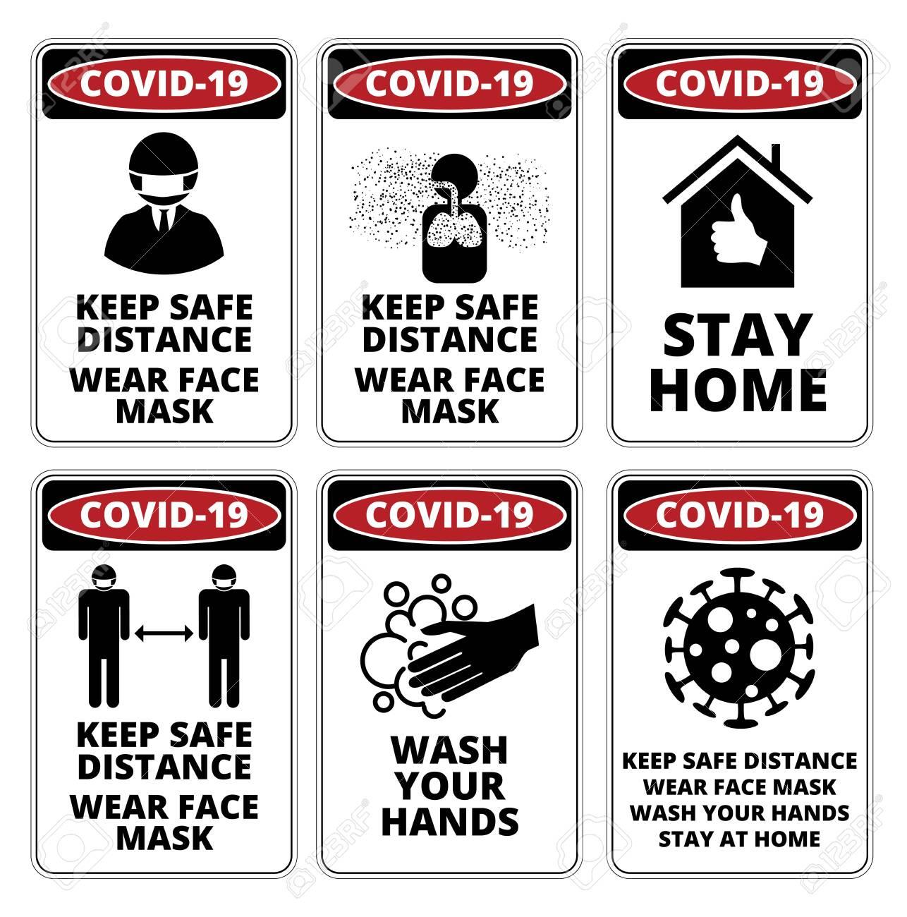 Covid-19 Danger Signs Set - 145849098