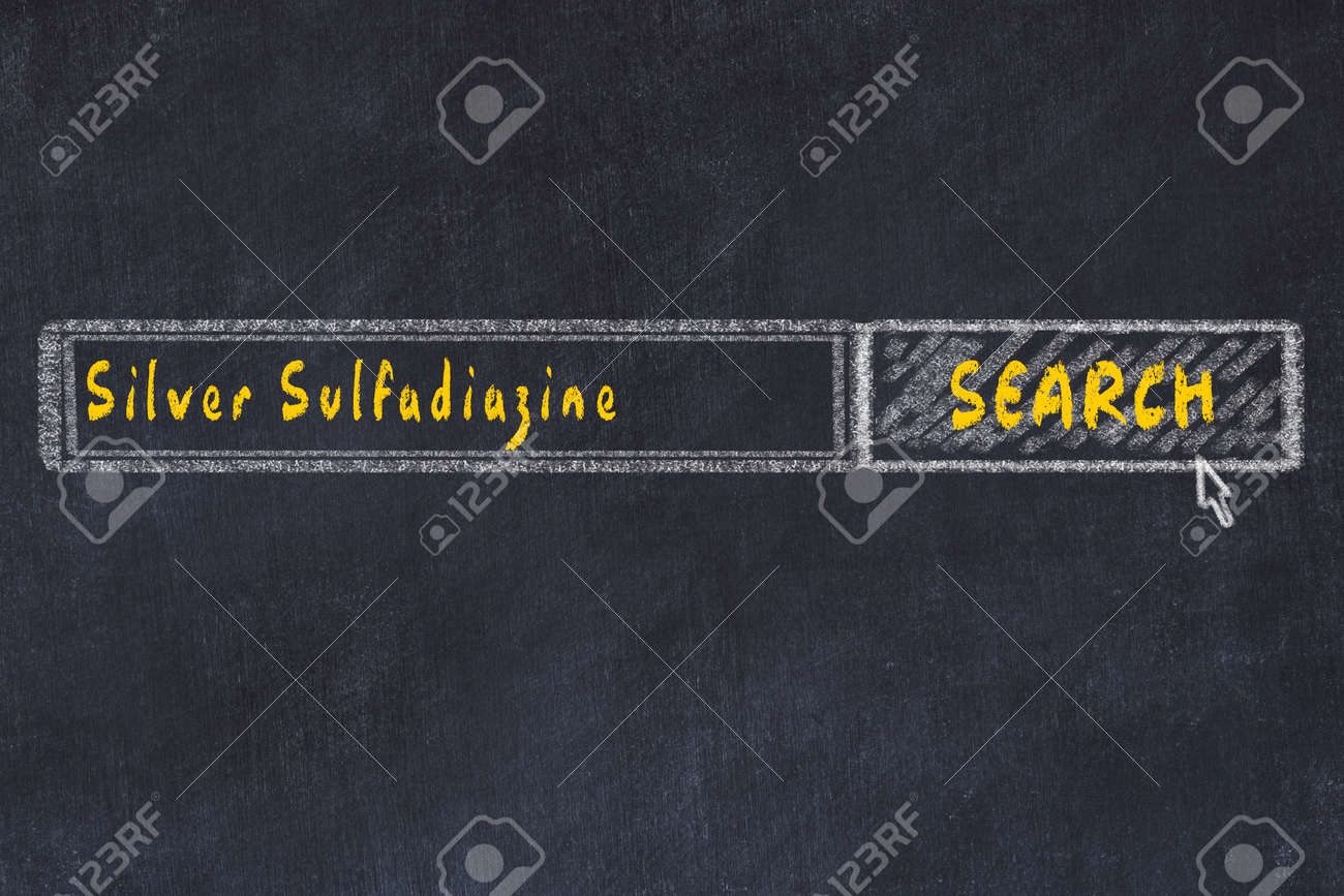 Medical concept. Chalk drawing of a search engine window looking for drug silver sulfadiazine. - 124267559