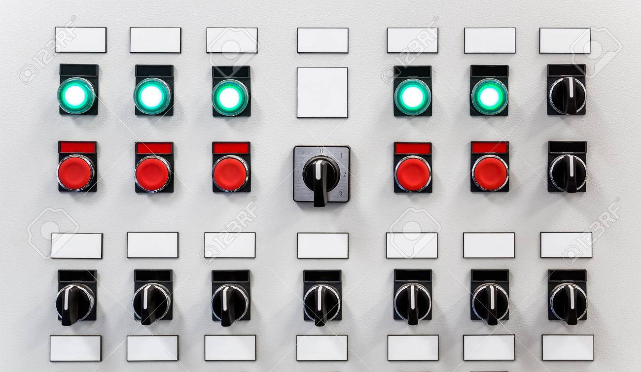 Control Panel Of Industrial Equipment With Name Plates, Switches ...