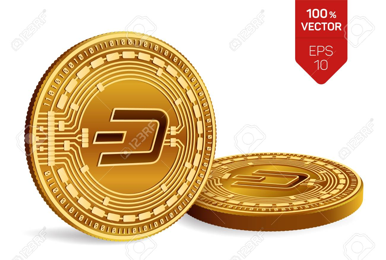 Dash  Crypto currency  3D isometric Physical coins  Digital currency