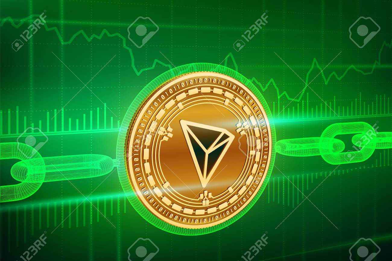 Crypto currency  Block chain  Tron  3D isometric Physical golden