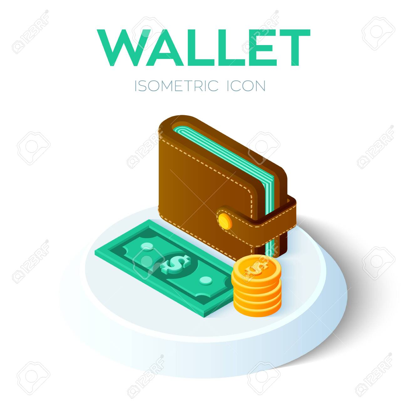 Wallet Icon. 20D Isometric Wallet Icon With Money. Dollar. Payment ...