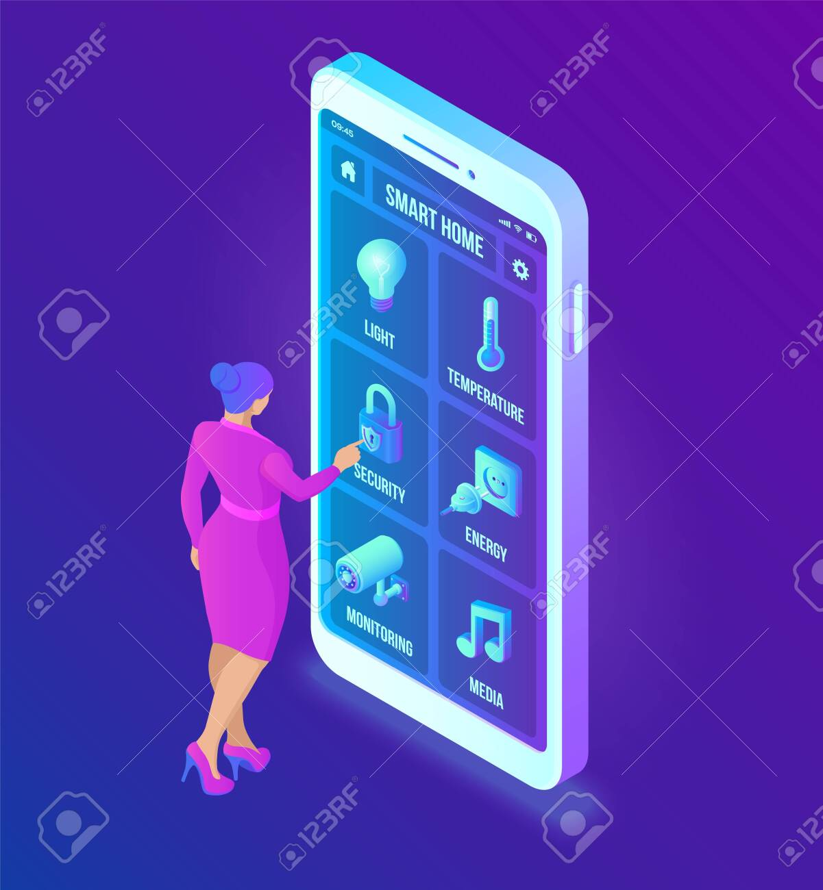 Smart home technology 3D isometric interface on smartphone app