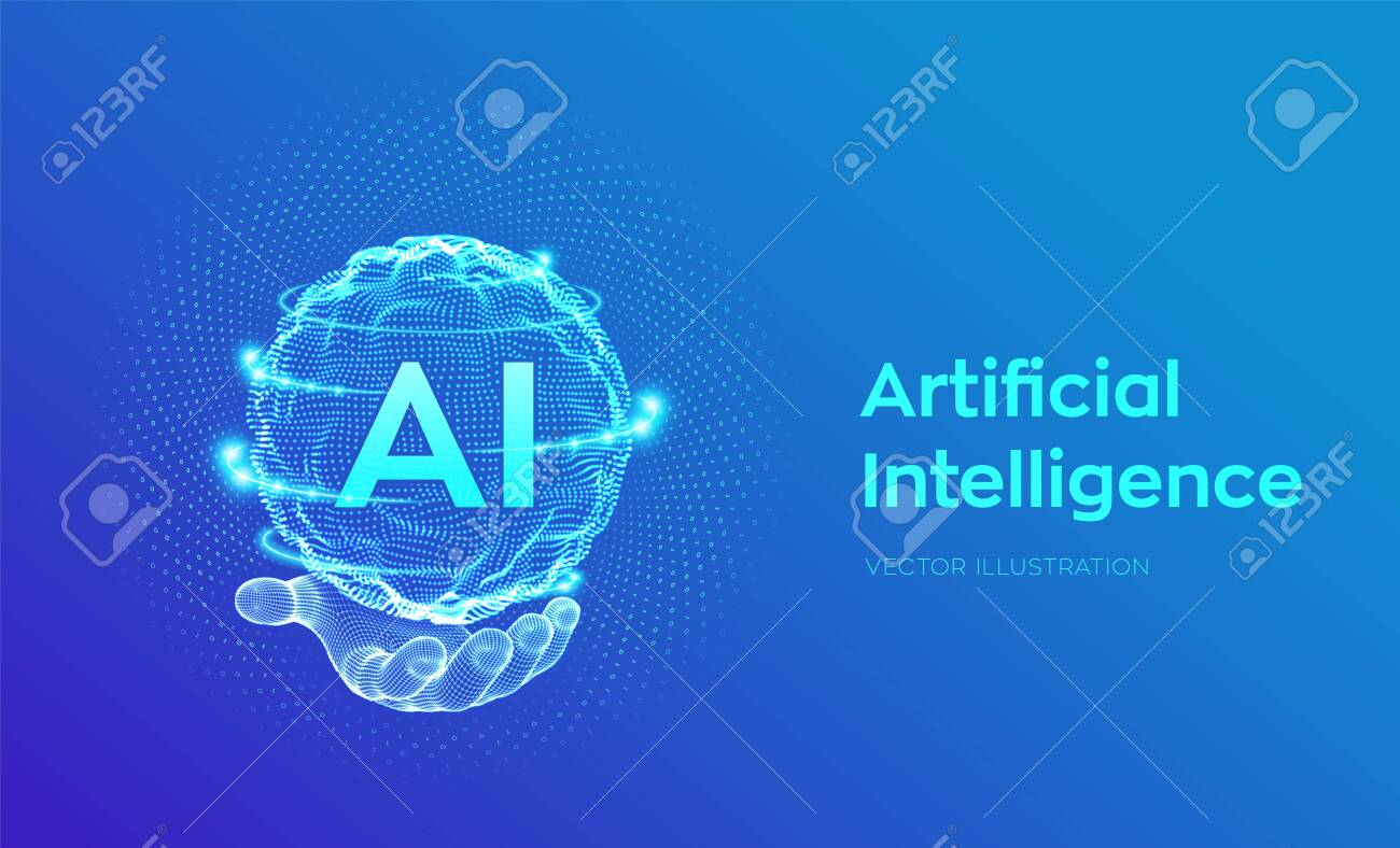 AI. Artificial Intelligence in hand. Artificial Intelligence and Machine Learning Concept. Sphere grid wave with binary code. Big data innovation technology. Neural networks. Vector illustration. - 128694716