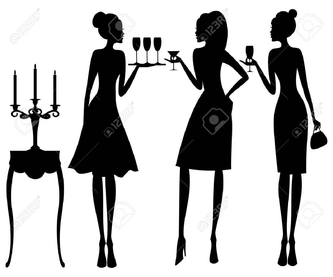 Vector illustration of three young elegant women at a cocktail party Stock Vector - 12394141