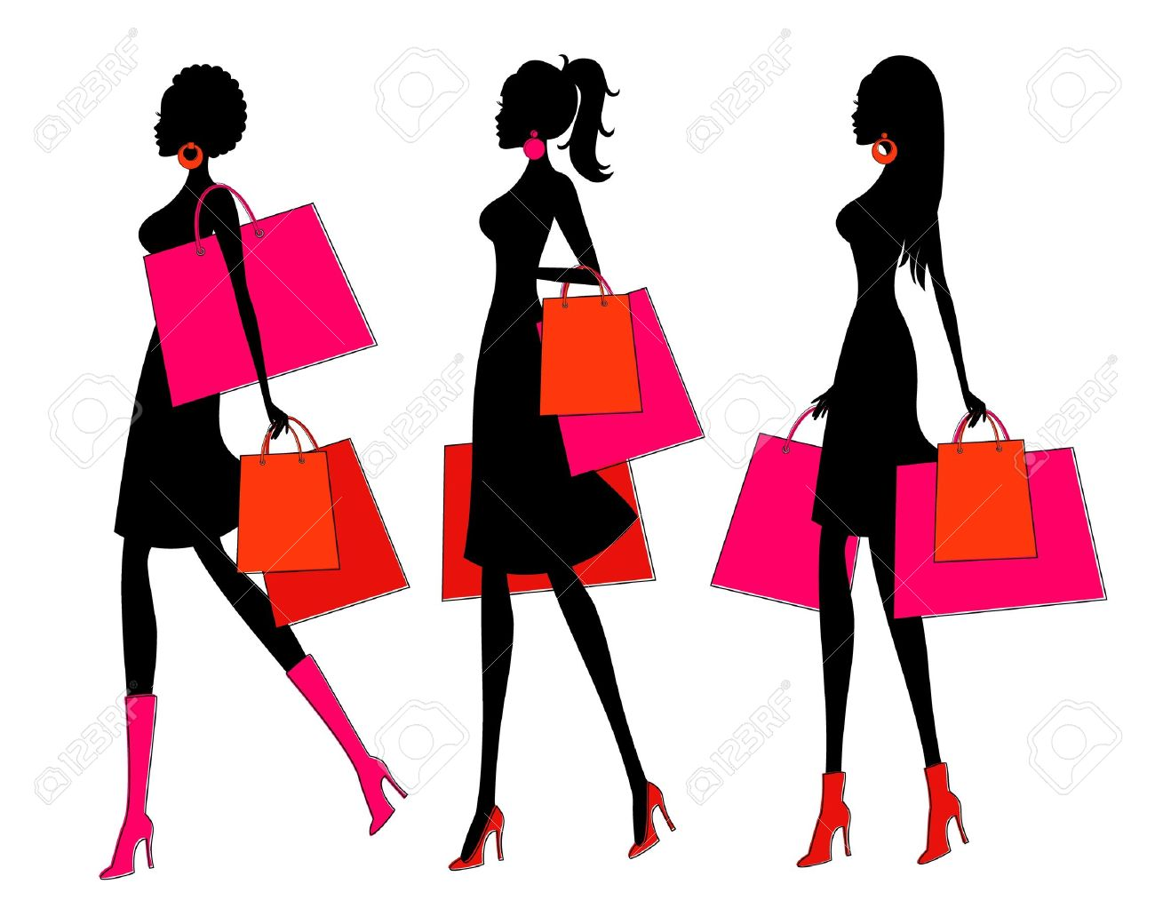 6c4305b0a Vector - Vector illustration of three young women holding shopping bags  Each woman is grouped and placed on a separate layer for easy editing