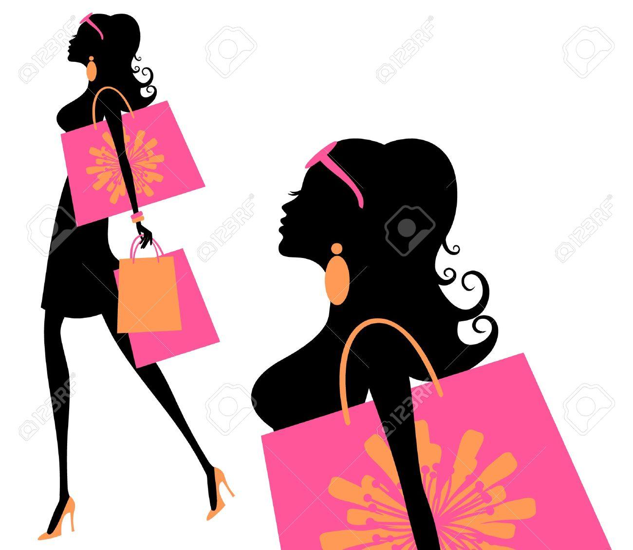 買い物袋を保持している若いおしゃれな女性のベクトル イラスト