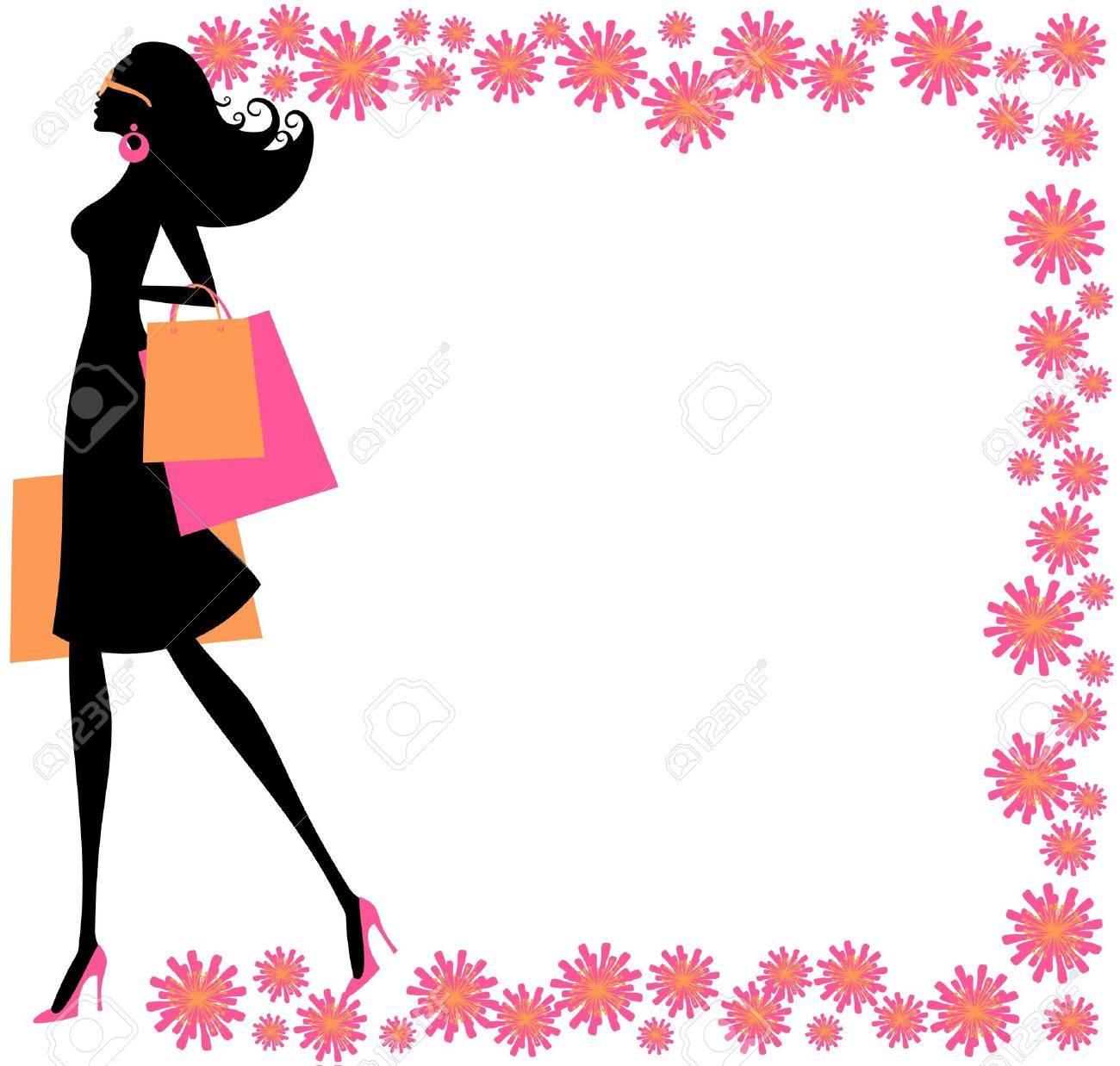 美しい花のフレームで囲まれた買い物袋を保持している若いおしゃれな