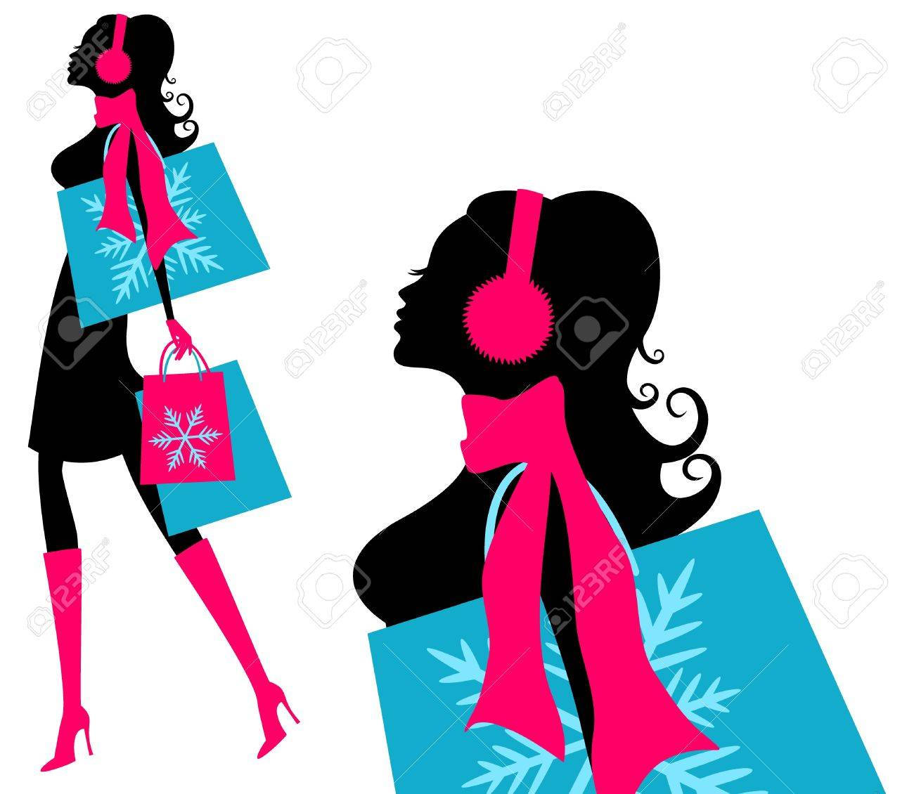 Vector illustration of a young fashionable woman holding shopping bags Stock Vector - 12394147
