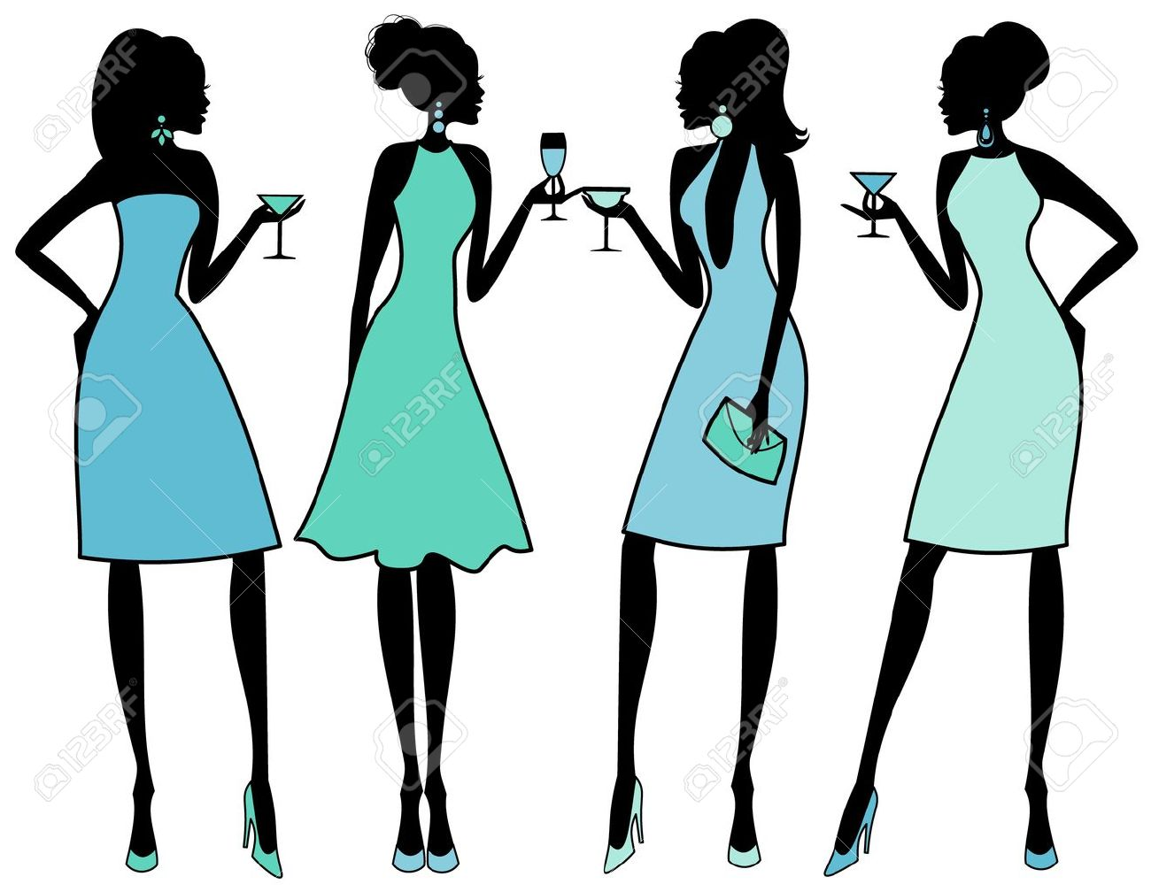 Vector illustration of four young women at an elegant cocktail party - 12394154