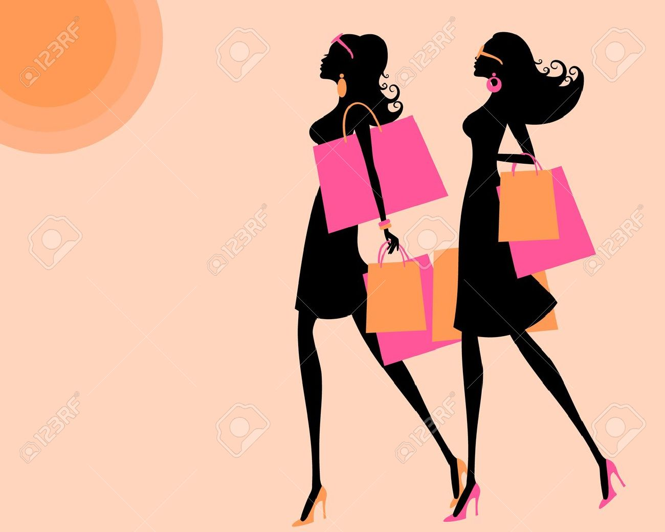 Woman Shopping Clipart young women shopping on a