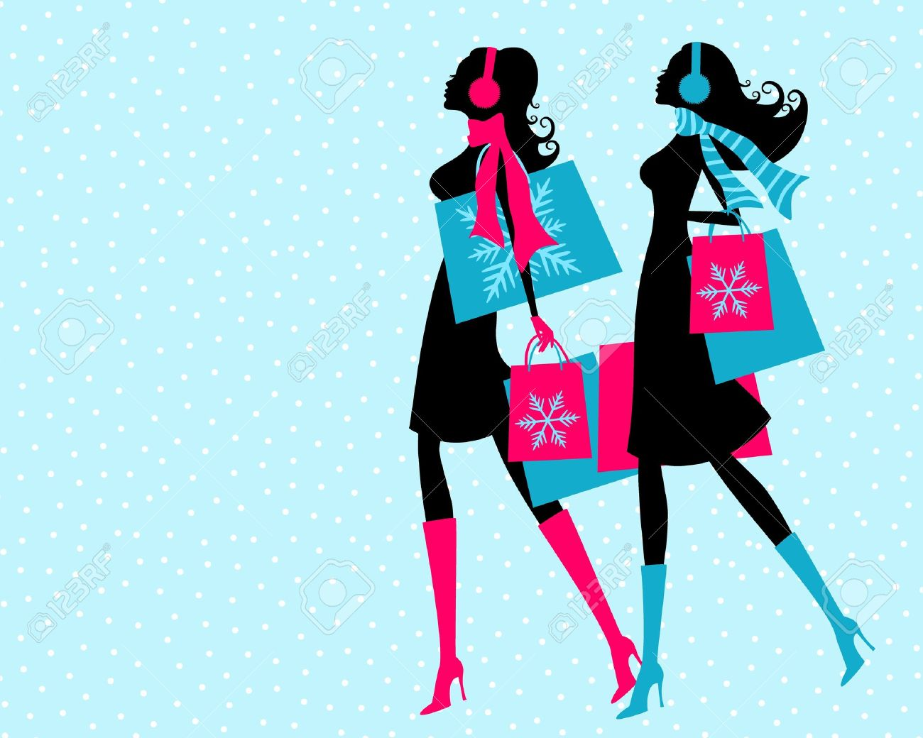 Vector illustration of two young women shopping on a snowy winter say  The background and each one of the girls is grouped and placed on a separate layer Stock Vector - 12394155