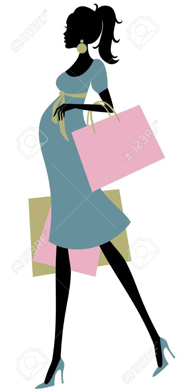 Vector illustration of a fashionable pregnant woman shopping Stock Vector - 12394143