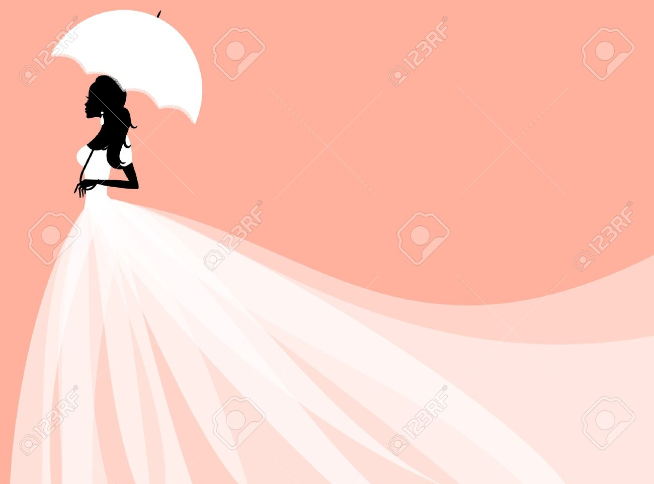 vector of a beautiful bride holding an umbrella perfect for bridal shower or wedding invitation