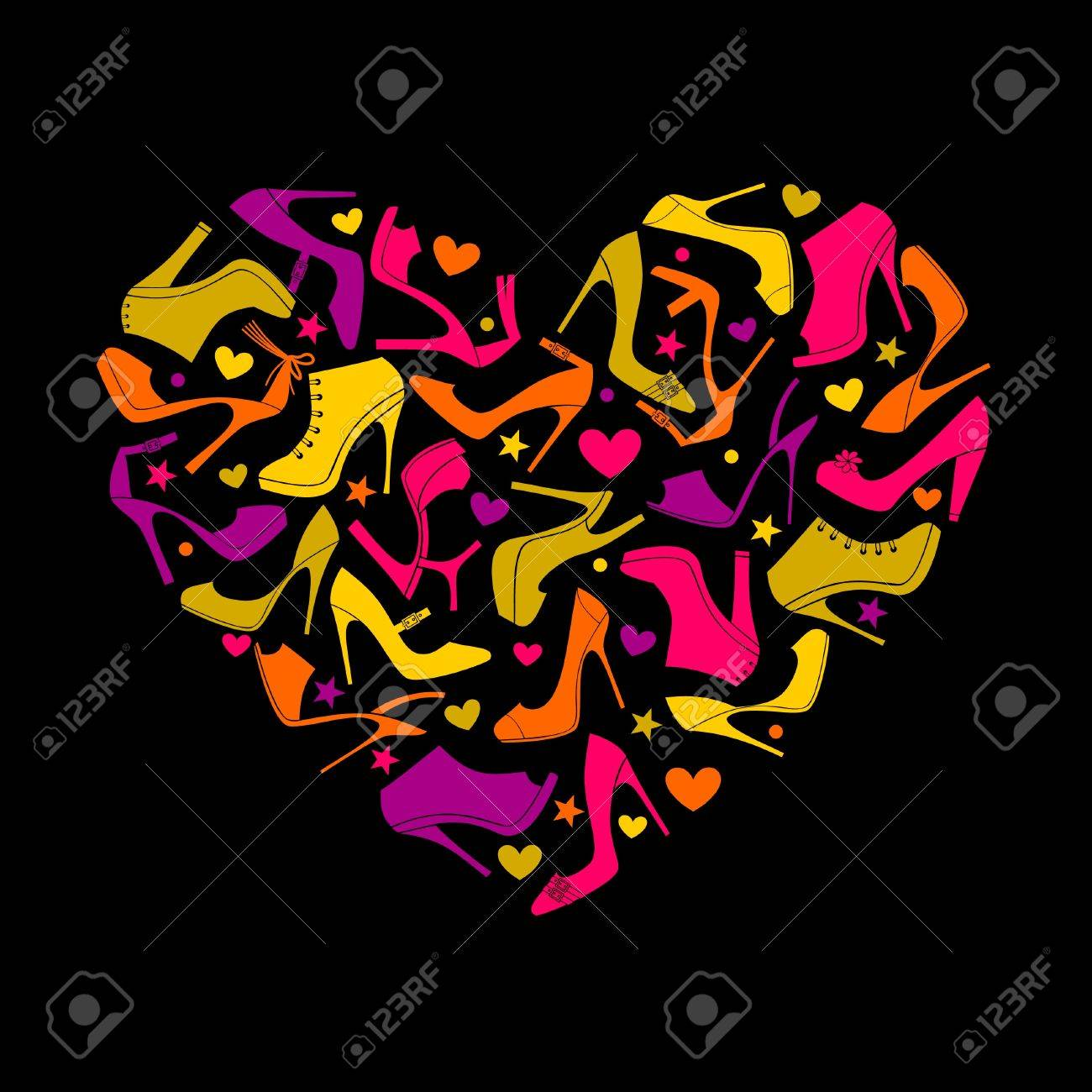 Colorful heart made from elegant female shoes Stock Vector - 12683554