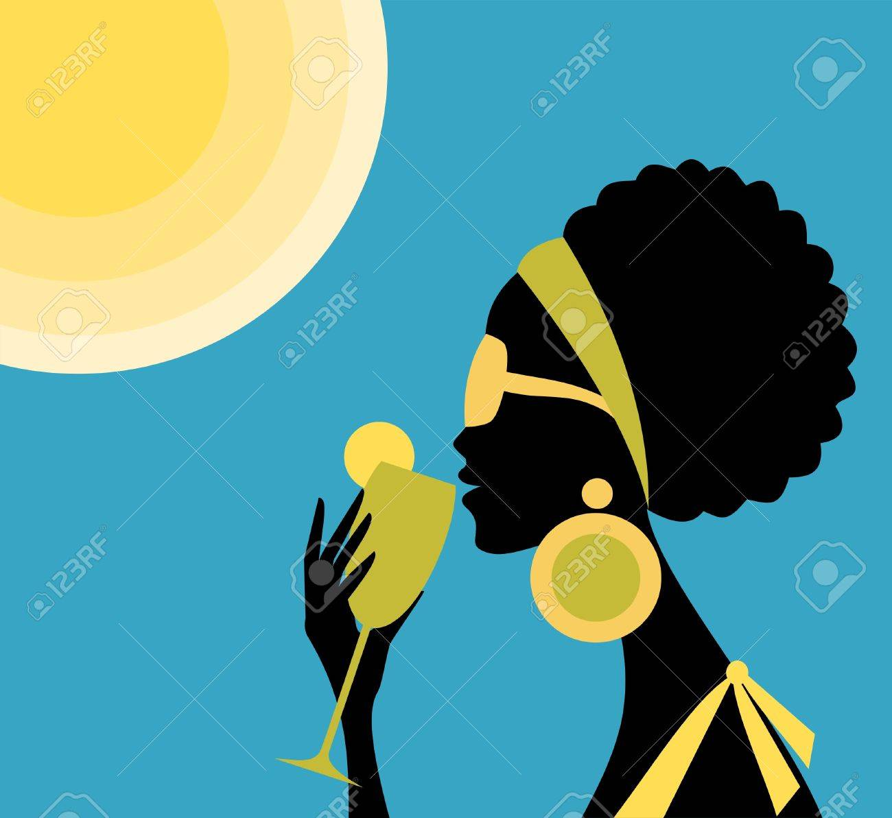 Illustration of a beautiful young woman drinking a refreshing cocktail on a hot summer day Stock Vector - 12906101